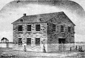 The Avenue School, built in 1857 at 9th and Poyntz. This image taken from an 1867 calender. Photo courtesy Riley County Historical Society