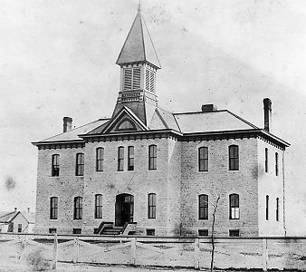 The new Avenue School, at 9th and Poyntz, 1882 Photo Courtesy Riley County HIstorical Society.