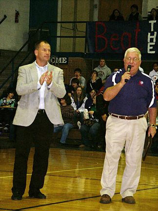 Dave Fiser, along with Mike Buchanan, addresses those attending the January 5, 2010 Wall of Fame Induction Ceremony.