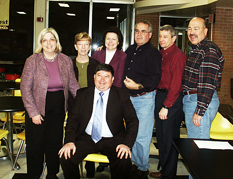 Mike Silva's Classmates from MHS 1974 join him at the reception to celebrate his Wall of Fame Honor. Standing, from left to right: Gayle Eyestone, Susie Agnew, Donna Crosby, Mike Mosely, Eric Peck, Mike Devin.